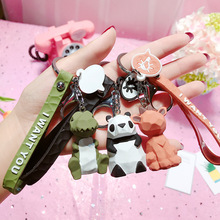 Cartoon Creative Cut Face Geometry Family Keychain Pendant Korea Cute Pink Bear Key Chain Resin Couple