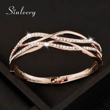 SINLEERY, роскошный дизайн, белый кубический циркон, полые женские браслеты, манжета, розовое золото, цвет, ювелирные изделия, подарок на день матери, Sl314 SSI