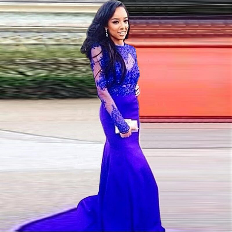 2018 Elegant Royal Blue Party Prom Women Mermaid Tail Costume Robe De Soiree Applique Evening Gown Mother Of The Bride Dresses