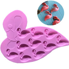 Molde do chocolate do silicone do flamingo de 10 furos, molde do bolo do silicone(China)