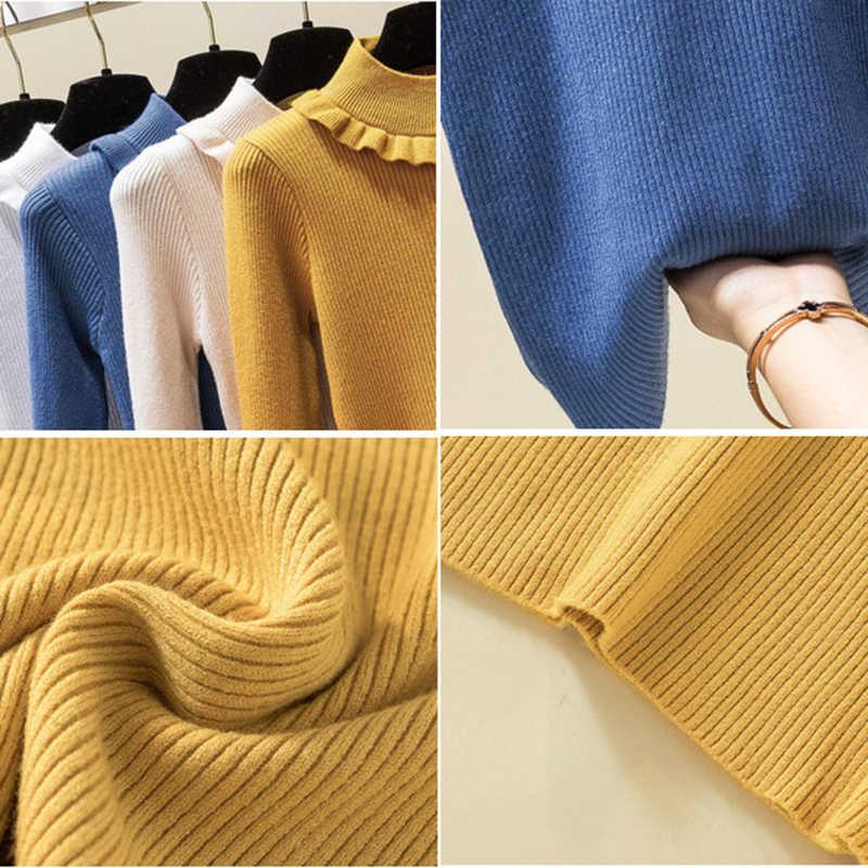 Suéter tejido para mujer jerseys de manga larga de Color sólido moda delgada coreana Otoño Invierno Base Pullover negro blanco albaricoque azul