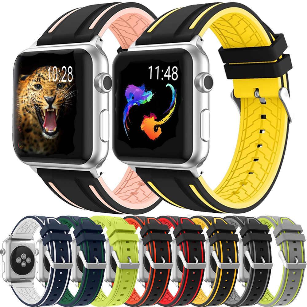 Spor yumuşak silikon kayış Apple Watch serisi için 5 4 3 2 1 Band 44mm 40mm 42mm 38mm yedek kayış bileklik iWatch için