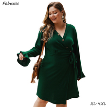 Dress Women 2019 High Waist Plus Size Long Sleeve Dress 4XL Slim Fit V Neck Belted Autumn Dress Solid Knitted  Woman Midi Dress