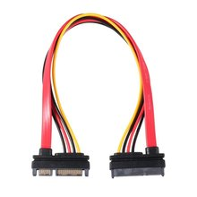 цена на 30CM Professional 15+7 Pin SATA HDD Extension Cable Data & Power Male to Female Hard Drive Extend Cable Cord