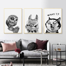 купить Grey Animal Canvas Painting Nordic Dog Decolour Rabbit Living Room Decoration Background Wall Hanging Picture Frameless в интернет-магазине