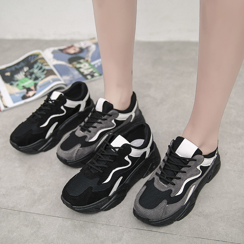 Women Autumn Mesh Sneakers Chunky Shoes For Women Trainers Platform White Chunky Sneakers Wedges Black Ladies Casual Shoes