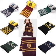 Хогвартс школьный шарф Гриффиндор Рейвенкло Гермиона длинные шарфы Слизерин Hufflepuff шейный платок для женщин мужчин и мальчиков