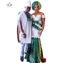 New African Applique Long Dresses for Women Bazin Riche Men Robe Shirt and Pants Clothing Dashiki Clothes WYQ109