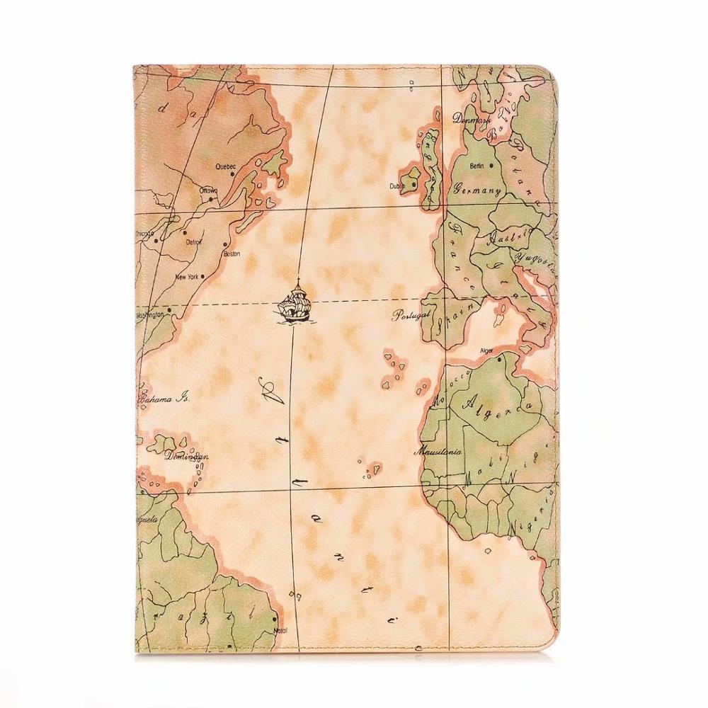 Yellow Black Luxury Folio Coque for iPad 7th 10 2 Case Crocodile Map PU Card Slot Stand A2198