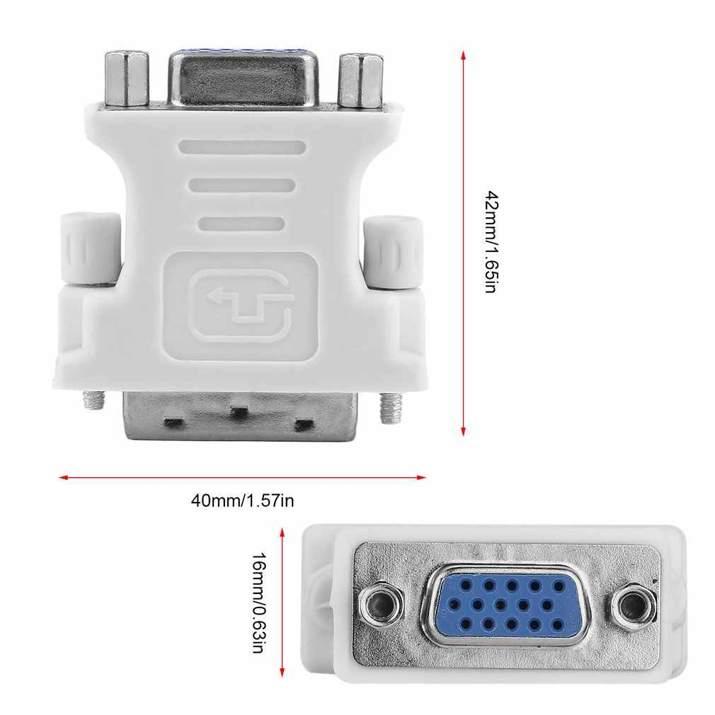 DVI DVI-I ذكر 24 + 5 دبوس إلى VGA أنثى شاشة إل سي دي فيديو محول قابس مهايئ ل DVD HDTV ذكر إلى شاحن أنثي أبيض jul 6