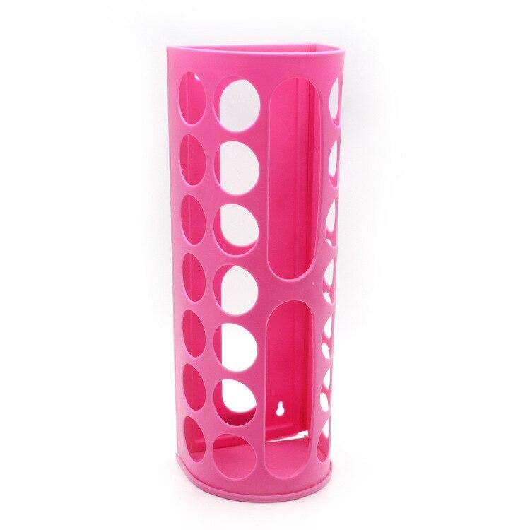 Настенный подвесной держатель мусора, пластиковый складной держатель мешков для мусора, коробка для хранения мусора, корзина для переработки, кухонный Органайзер - Цвет: Pink-1pc