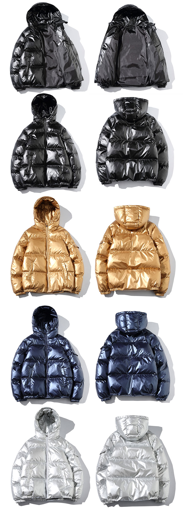 H55513aa6b3f84cfaa0bd87a0d9edba59f - Winter Men Jacket Thick Warm Parka Jackets Silver Bright Glossy Bread Coat Fashion Young Loose Hooded Cotton Jacket Outwear Male
