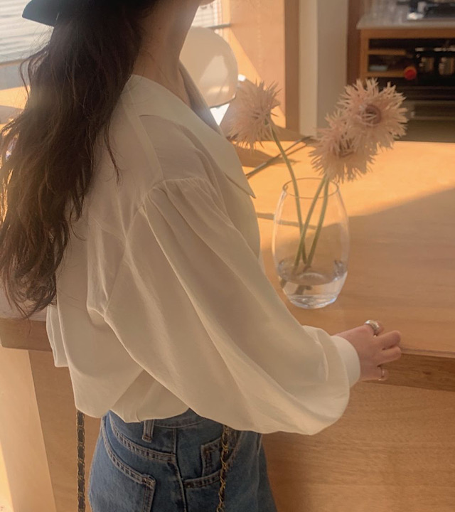 H55514c137f0243ebbf64fa8571b830ff8 - Spring / Autumn Chelsea Collar Long Sleeves Solid Blouse