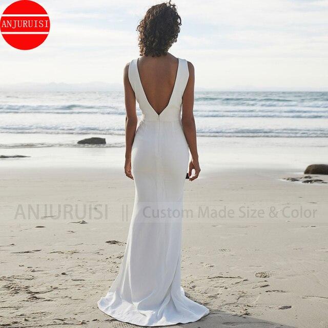ANJURUISI 2020 Beach Wedding Dresses V Back Soft Satin Sweep Train Cheap Long Boho Bohemian Mermaid Bride Dress Backless Plus 3