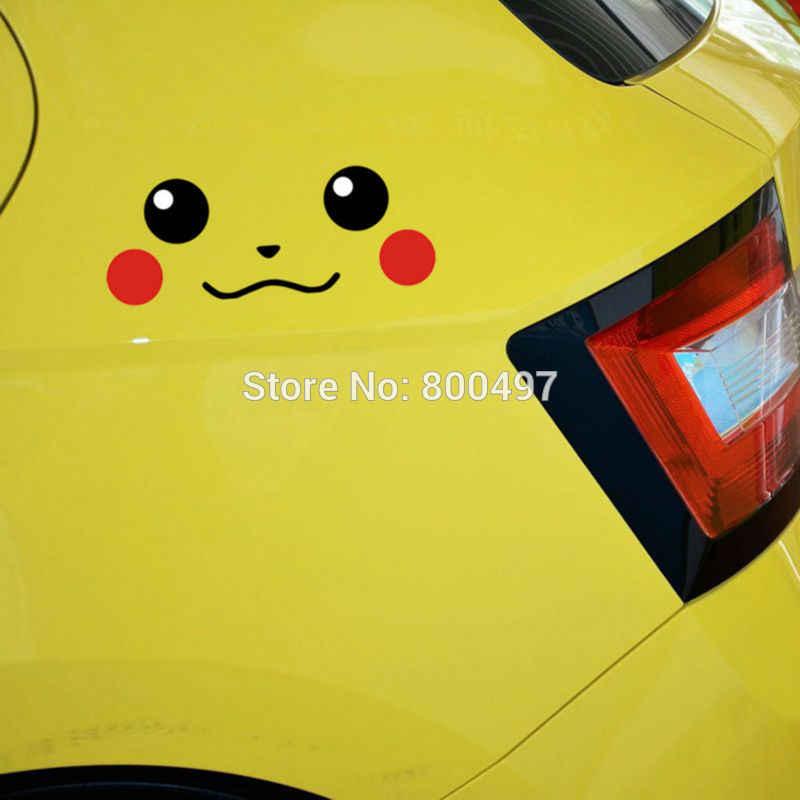 Voiture style belle bande dessinée Animal de compagnie Pikachu Pokemon sourire visage autocollant autocollants pour Toyota Peugeot Chevrolet VW Ford Lada Honda
