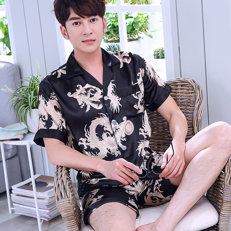 2019 Silk Men Pyjama Set Satin Men Pajama Suit Short Sleeve Pajama Male Sleepwear Dragon Print Man Nightgown Sleep