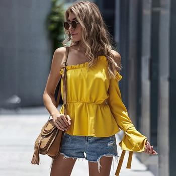 Fall 2020 Women Ruffle Peplum One Shoulder Top Elegant Womens Skew Collar Mustard Spaghetti Strap Flare One Sleeve Top Plus Size цена 2017