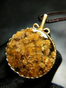 Image 4 - Natural Gold Rutilated Quartz Pendant Flower Pendant Titanium 29*9.5mm Crystal Stone 14K Gold AAAAA