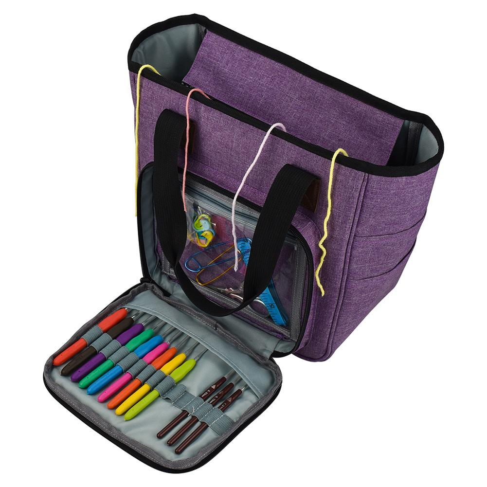 DIY Knitting Carrying Case Portable Knitting Yarn Storage Bag With Multiple Pockets Tote Bag For Needles Crochets Threads