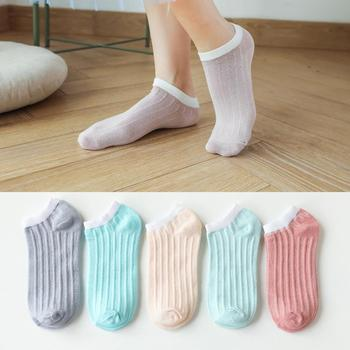 5Pairs Women harajuku students lovely cute carton Marguerite Star Print summer cotton Sock For Female male Funny ankle sox image