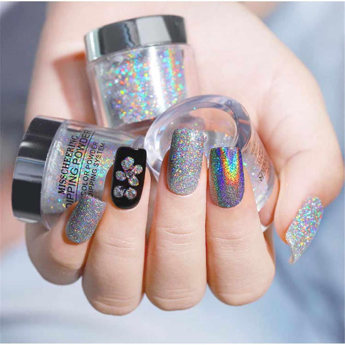 เลเซอร์ผงซักฟอก Holographic Salon โลหะเล็บ Pigment Unicorn กระจก Chrome เล็บผงเลเซอร์ฝุ่นสำหรับเล็บ
