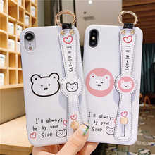 Korean cartoon bear wrist strap case phone for iPhone xs max xr x 8 7 plus white luxury couple silicone cover i 8plus 7plus 6s 6