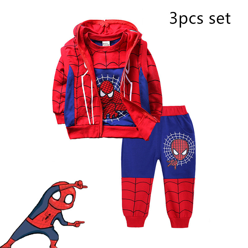 Spiderman/Hoodies Children Red Black 3Pcs Set Boys Kids Sweaters Hoodies Costume Spiderman Cosplay Clothing on AliExpress