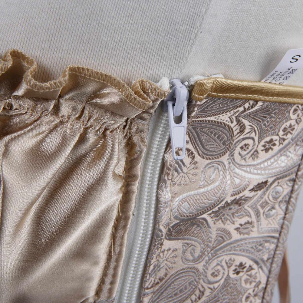 Rinascimento Principessa Creamy Corsetto Gotico Overbust Sexy del Corsetto Delle Donne Della Chiusura Lampo Laterale Dello Shaper Del Corpo Più Sottile Costume Più Il Formato S-6XL