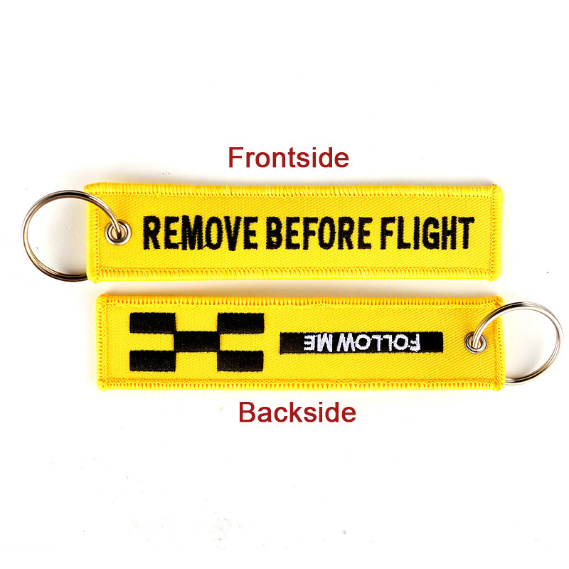 5 PCS/LOT Remove Before Flight Keychain FOLLOW ME Yellow Keychain Jewelry Embroidery Safety Tag Llavero Fashion Sleutelhanger
