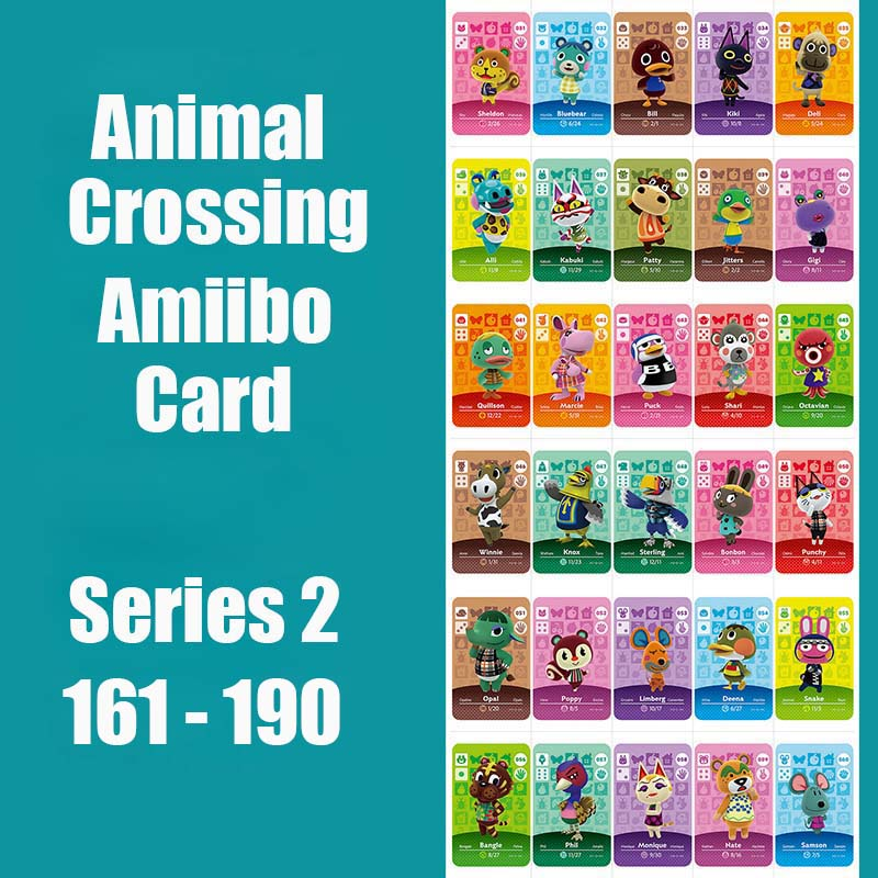 Series 2 (161 To 190) Amiibo Card Animal Crossing Card Work For NS 3DS Switch Game Animal Crossing Amiibo Card Original Function