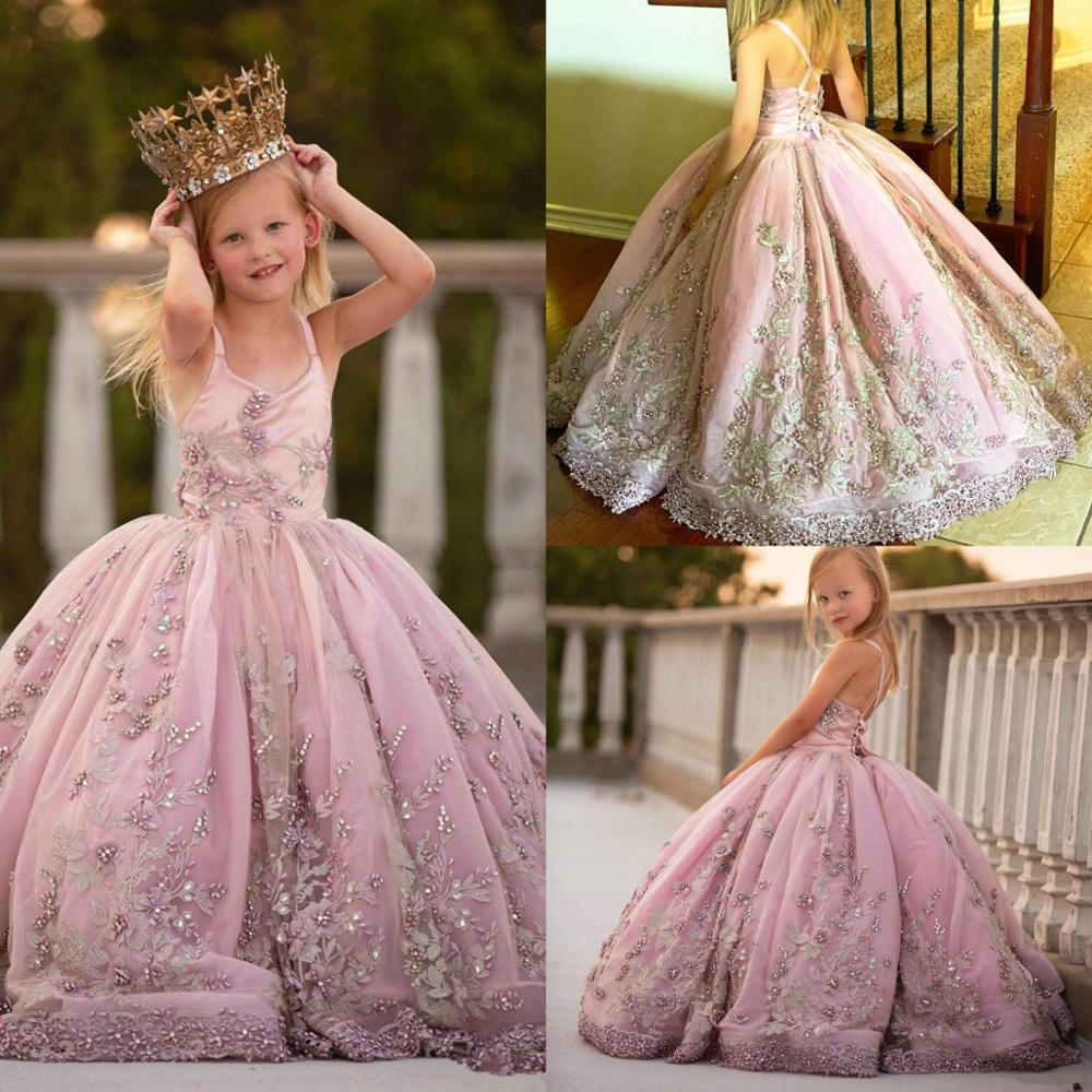 Luxurious Lace Pearls Flower Girl Dresses Ball Gown Sapghetti Little Girl Wedding Dresses Vintage Communion Pageant Dresses Gown