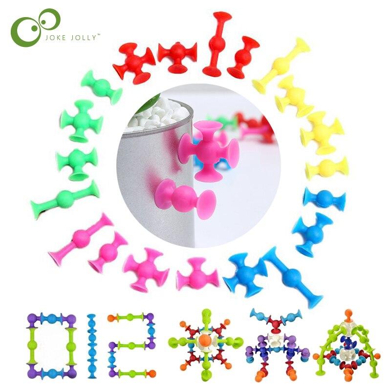 50 adet/grup DIY silikon yapı taşları monte enayi vantuz komik inşaat oyuncaklar çocuk eğitici oyuncaklar GYH