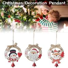 цена Wooden Christmas Wreath Pendant Old Man Elk Christmas Tree Ornament Bow Ring With Bell Hanging Plate Christmas Home Decoration в интернет-магазинах