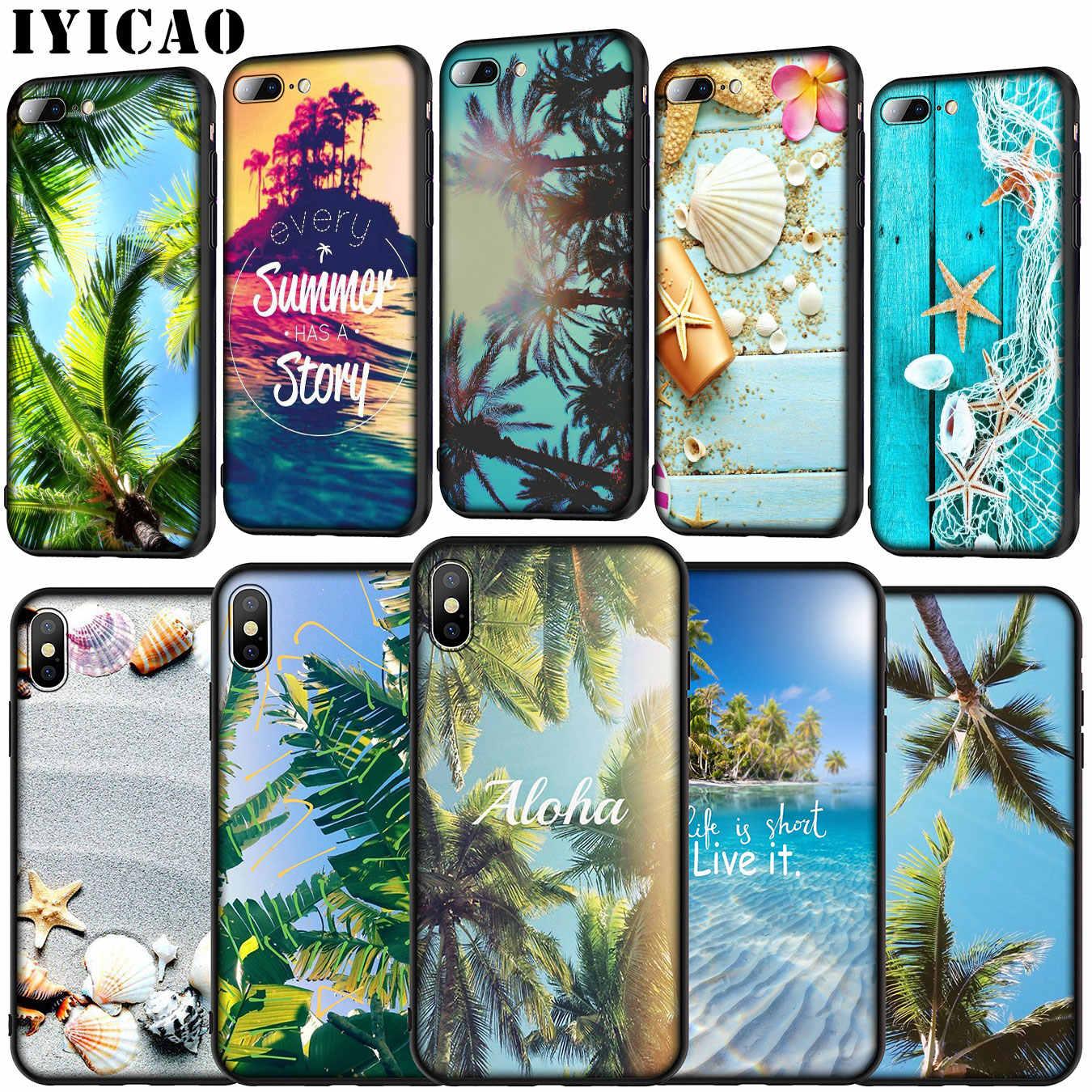 IYICAO Estate Palme Mare Oceano Aloha Molle Del Silicone Della Copertura di Caso per il iPhone 11 Pro XR X XS Max 6 6S 7 8 Più di 5 5S SE Cassa Del Telefono