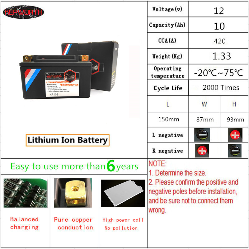 KP10S <font><b>12V</b></font> 10000mAh Motorcycle <font><b>LiFePO4</b></font> Battery Jump Starter Lithium ion Battery CCA 420A <font><b>10Ah</b></font> With BMS board Voltage Protection image
