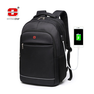 Image 1 - Charging USB teens School Bags for Teenage Boys Backpack men nylon black solid High Quality student SchoolBag Preppy Style