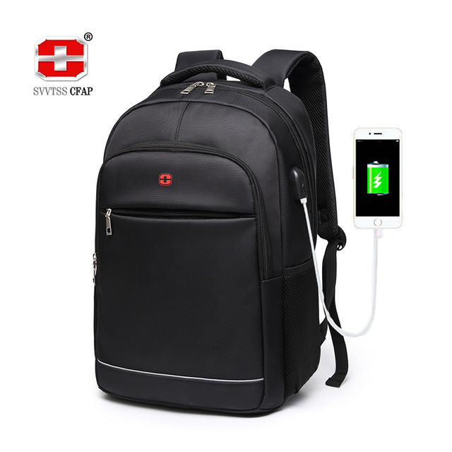 Charging USB teens School Bags for Teenage Boys Backpack men nylon black solid High Quality student SchoolBag Preppy Style