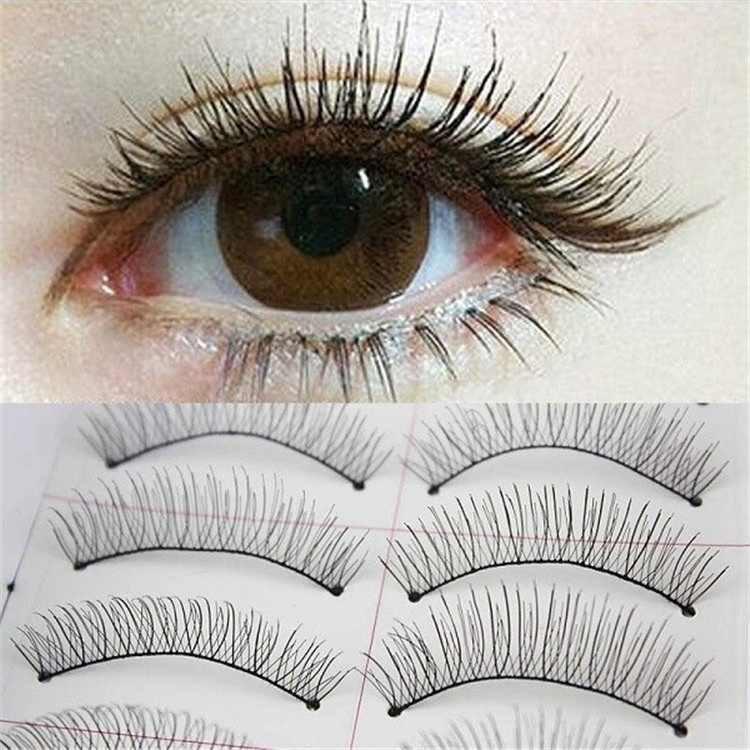 10 par/set Natural de las pestañas postizas largo grueso falso pestañas maquillaje voluminoso