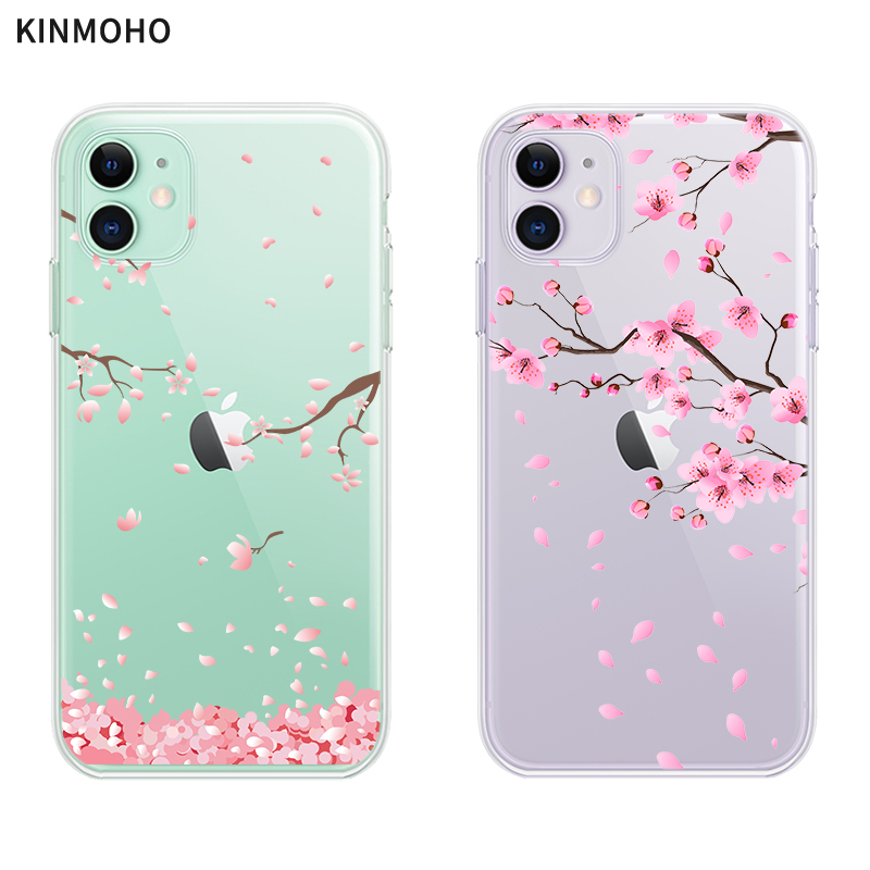 Coque de téléphone Sakura à fleurs de cerisier du japon, étui en TPU souple transparent avec Logo pour iPhone 11 Pro Max X XR XS MAX 7 6s 8 Plus 5s Se