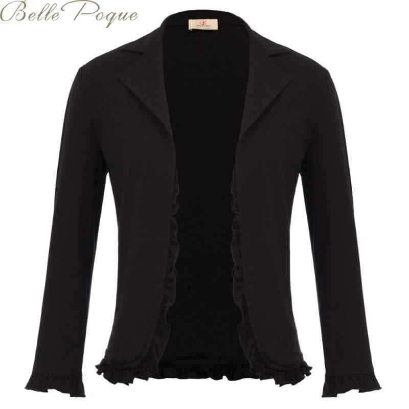 Belle poque casaco de escritório feminino preto casacos para feminino fino manga longa casual 2020 outono inverno outwear plus size S-2XL