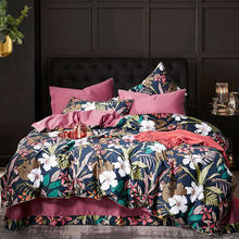 Luxury Colorful Plant print Long Staple Egyptian cotton fabric bedding set Queen Size duvet cover set flat sheet pillowcase allover sanding plant print sheet set