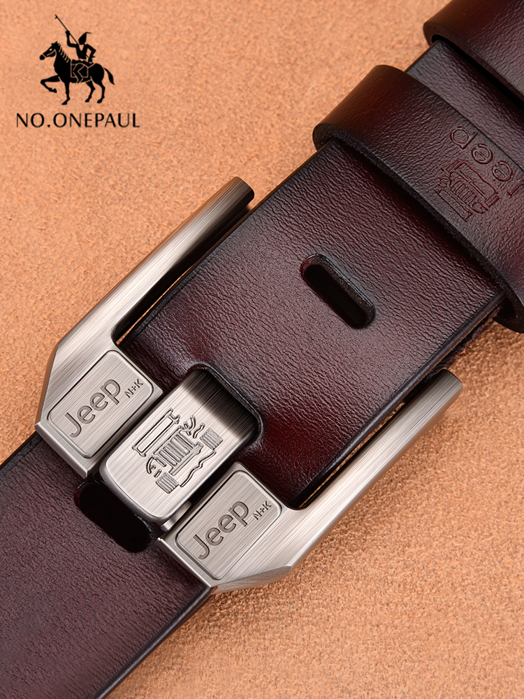 NO.ONEPAUL Belt Waistband Buckle Jeans Business-Belt Cowskin Black Cowboy Genuine-Leather