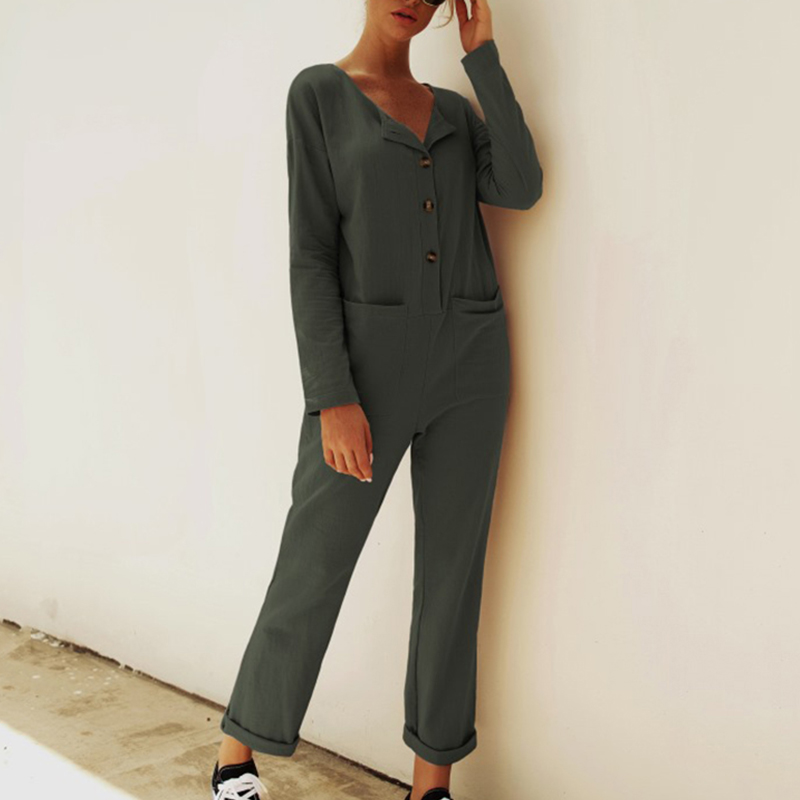 Women Long Sleeve Buttons Solid Color   Jumpsuit   with Pockets for Party Autumn TC21