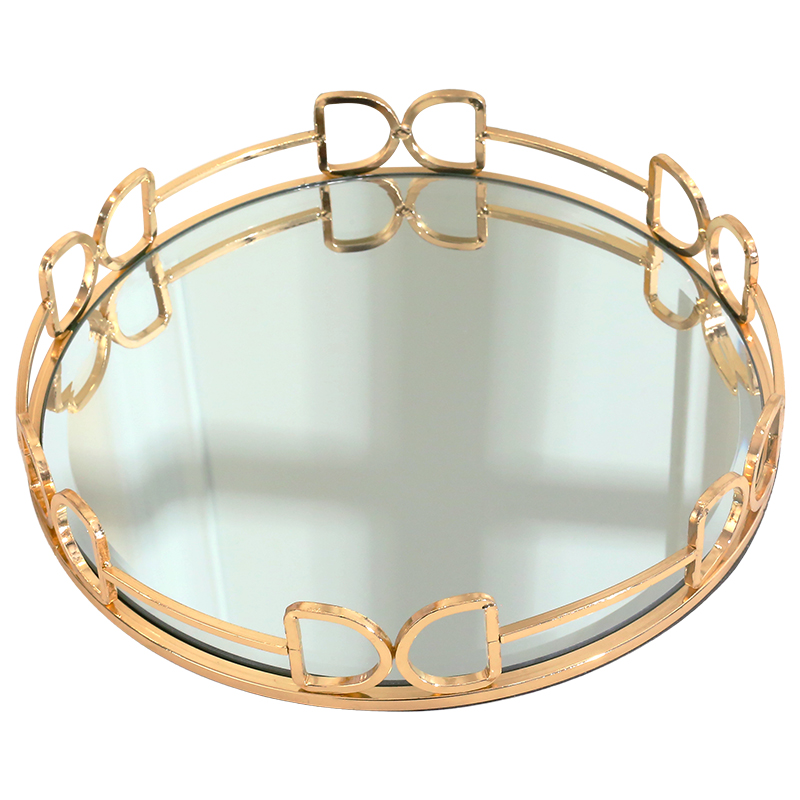 Plateau miroir en acier inoxydable doré | Décor de maison, plateau de service rond, plateau de rangement de bougies de luxe, center de table - 5