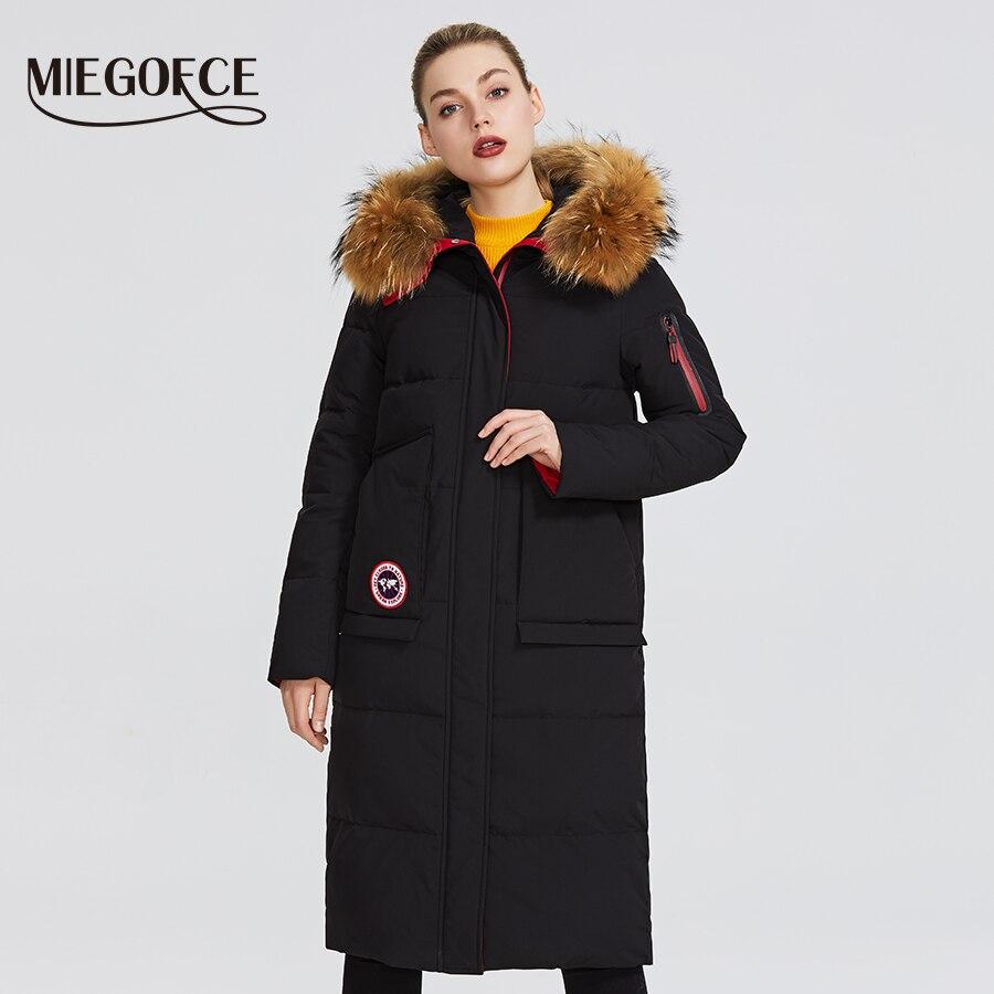 MIEGOFCE 2019 Nova coleção de inverno do Revestimento das mulheres jaqueta de inverno com capuz de pele patch bolso Parka que destacam o seu encantador estilo