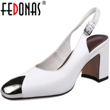 FEDONAS New Women Genuine Leather Metal Round Toe Women Shoes Thick High Heels Spring Summer Wedding Shoes Woman Prom Pumps Shoe