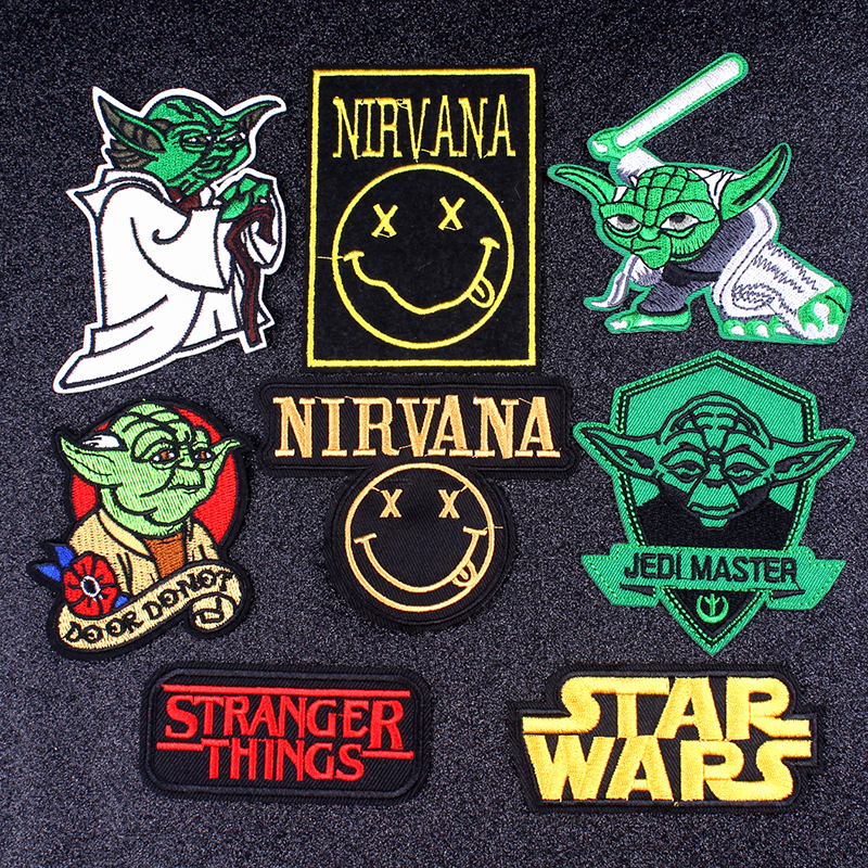 Pulaqi Nirvana Brand Patch Rock Music Patch DIY Embroidered Patches For Clothing Star Wars Patch Letter Badge Applique Stripes F