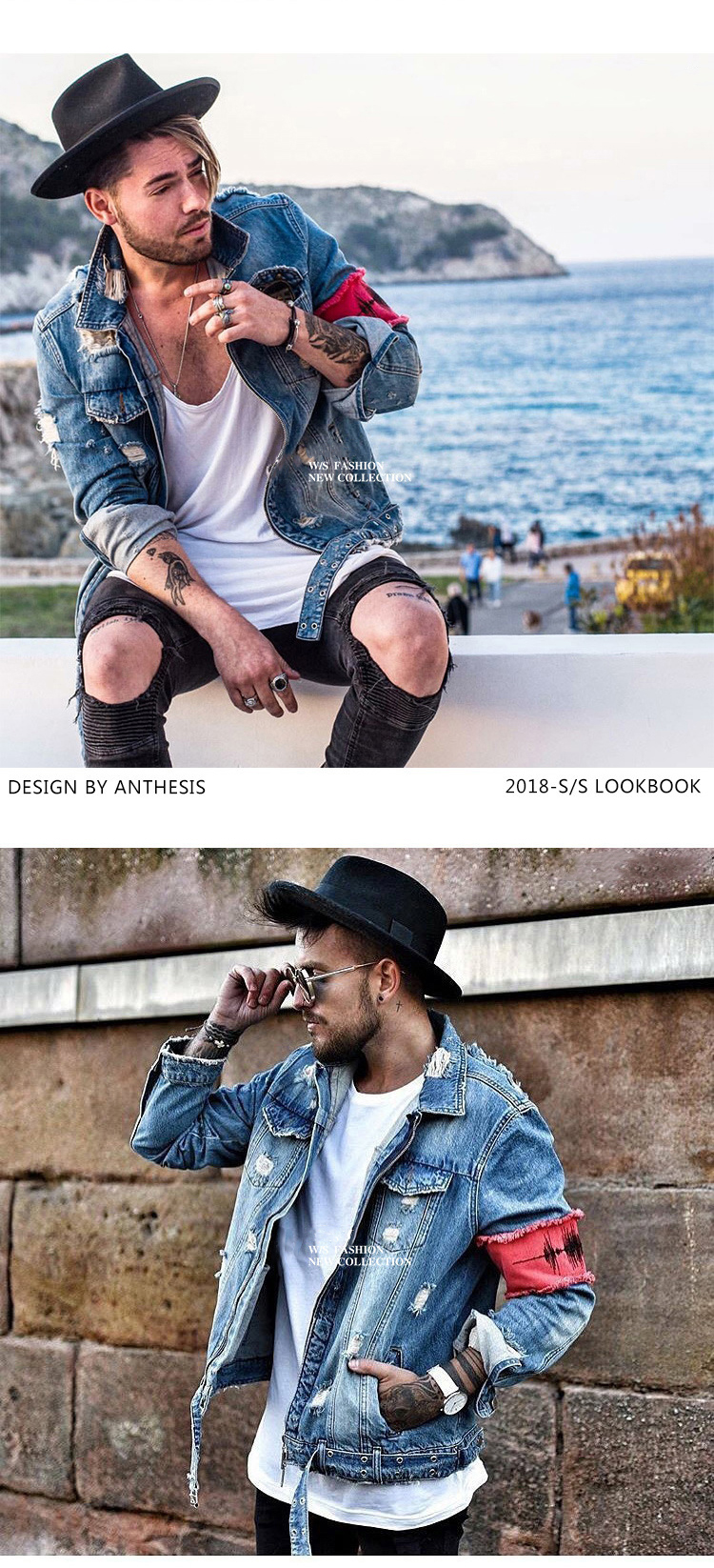 H555341615d674711af0d6455305e3cd1f Men's Jean Jackets Streetwear Hip Hop Bomber Jacket  Denim Jacket Men Brand  Ripped Denim Jackets Casual Fashion Coat
