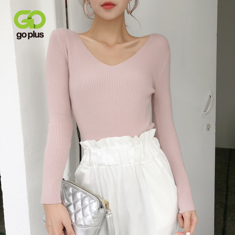 GOPLUS 2020 Women's Knitted Sweater Sexy V Neck Long Sleeve Sweaters For Women Slim Autumn Casual  Korean Style Pullover Femme