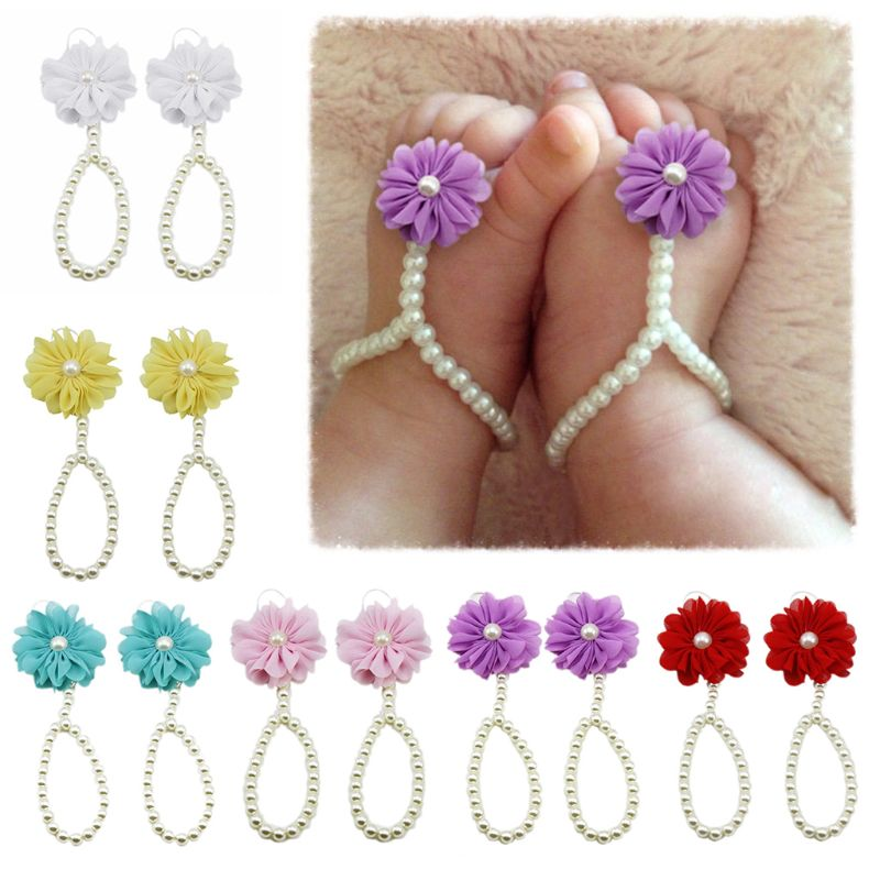 Newborn Baby Flower Footwear Summer Sandals Barefoot Beach Style Foot Chain Bracelet Kids Accessories